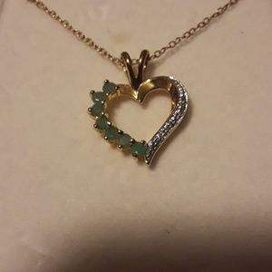 925 silver necklace w/ real emerald heart pendant